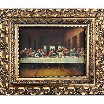 Last Supper, 30x40 cm with frame in gold
