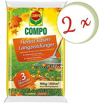 Sparset: 2 x COMPO Autumn Lawn Fertilizer with long-term effect, 10 kg