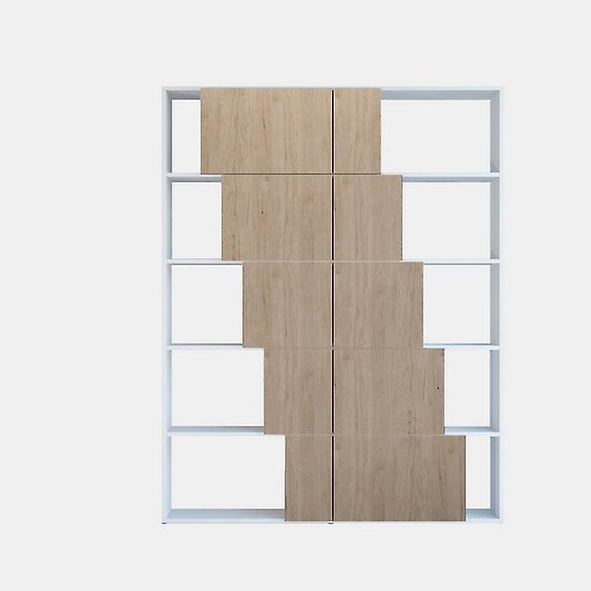 Libreria Skipper Color Bianco, Legno Naturale in Truciolare Melaminico 130x22x166 cm