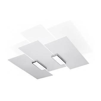 Fabiano Ceiling Light Glass / White Steel / Chrome 3 Bulbs