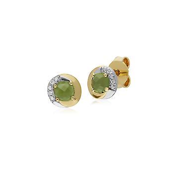 Klassinen tyyli pyöreä Peridot Stud korvakorut kaksi sävy 9ct keltainen kulta 135E1560049