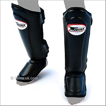 Twins special double padded leather shin guards - black
