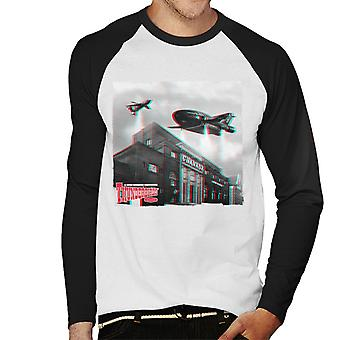 Thunderbirds 2 And 3 Flying Over Granada Studios Men's Baseball Long Sleeved T-Shirt