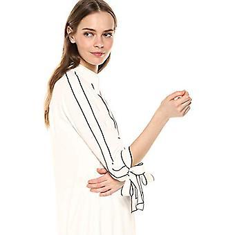 Merkki - Lark & Ro Women's Tie Detail Three Quarter Sleeve Split Neck Shift Dress, Norsunluu, 4