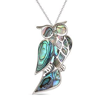 ADEN 925 Sterling Argent Ormeau Nacre Owl Pendentif Collier (id 2519)