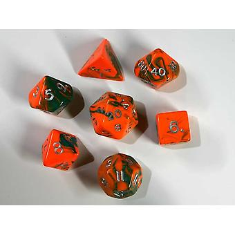 Toxic Polydice Set - Chemical (Orange) - 7 Standard Sized Dice for D&D and other RPGs