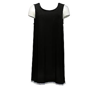 Attitudes van Renee Women's Top Sleeveless Detailed Hemline Black A353138