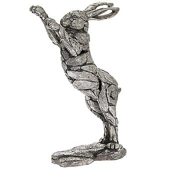 Silver Natural World Leaping Hare Ornament Figurine