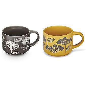 Cooksmart Retro Meadow Stacking Mugs, Grey and Yellow