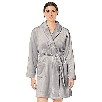 Essentials Women's  Mid-Length Plush Robe, Light Grey, X-Large