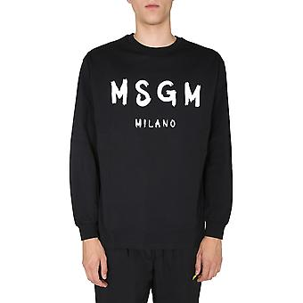 Msgm 2940mm10520759899 Herren's schwarzes Baumwoll-Sweatshirt