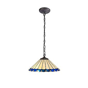 Luminosa Beleuchtung - 1 Licht Downlighter Deckenleuchte E27 mit 40cm Tiffany Schatten, blau, Kristall, alteralter antiker Messing