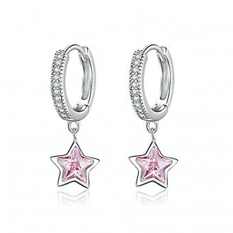 Silver Earrings Pink Stars - 6799