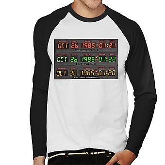 Back to the Future Oct 26 1985 Last Time Departed Men's Baseball Long Sleeved T-Shirt