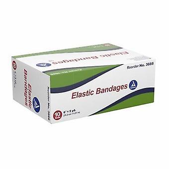 Dynarex Elastic Bandage 6 Tommer X 4-1/2 Yard Standard Kompression Klip Fritliggende Lukning Tan NonSteri, Tan 1 Hver
