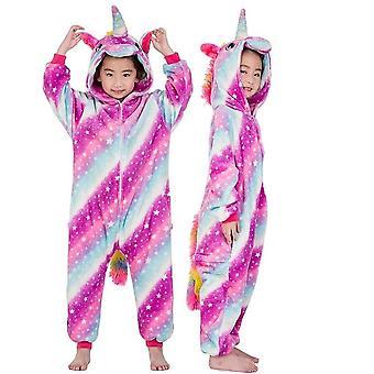 Pyjamas licorne chaude douce de flanelle d'hiver, à capuchon, ensemble de vêtements de nuit pour enfants-1