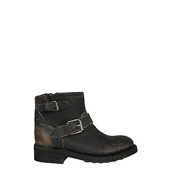 Ash Trick01 Women's Black Leather Ankle Boots