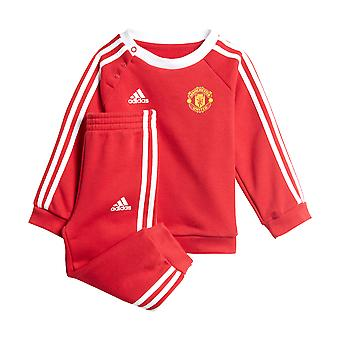 adidas 3-Stripes Manchester United Infant Kids Crew Jogger Tracksuit Set Red