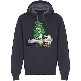 Dj Music Party St Patricks Day Hoodie Men's -Image par Shutterstock