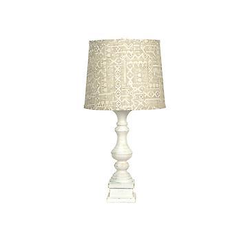 מנורת שולחן לבנה במצוקה עם גוון פשתן שזוף בדוגמת
