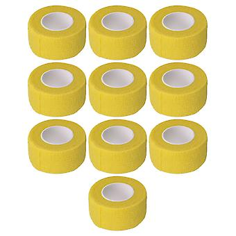 10PCS Roll Width 2.5cm/0.98Inch Self Adherent Bandages Athletic Tape Yellow