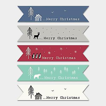 East of India CREAM Ribbon Style Flag Christmas stickers -22 STICKERS