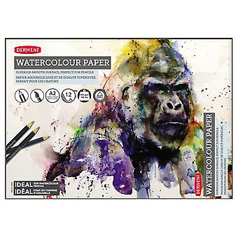 Derwent 2301972 a2 watercolour paper pad, 12 sheets, acid-free paper, professional quality, white