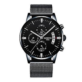 Nibosi Steel Watch for Men - Luxury Strap Anologue Movement for Men Quartz Black
