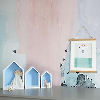 Puckdaddy House Hylla Elise i blå uppsättning av 3 S / D Dekorativa hyllor i House Design Plantskola Hylla