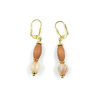 Leverback Earrings Wooden Beige Brown