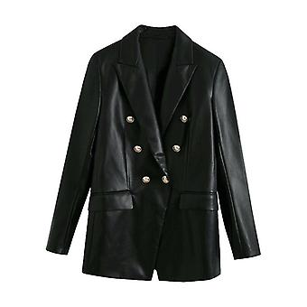 Double Breasted Faux Leather Blazers Coat, Vintage Long Sleeve, Back Vents