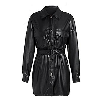 Fashion Loose Pockets Vestes à manches longues Femmes Elegant Tie Belt Waist Coats