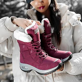 Winter Waterproof Keep Warm Mid-calf Snow Boots, Ladies Lace-up Comfortable