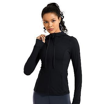 Full Zip Hoodie, Sportswear Hooded Workout Jacket With Zip Pockets's Matte