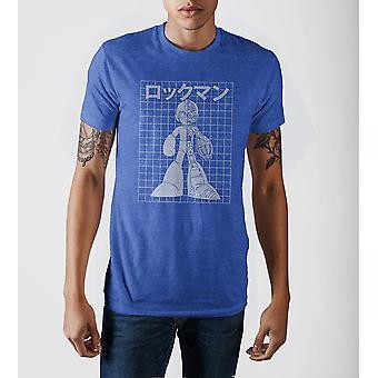 Capcom megaman legal digital real azul heather pescoço impressão t-shirt