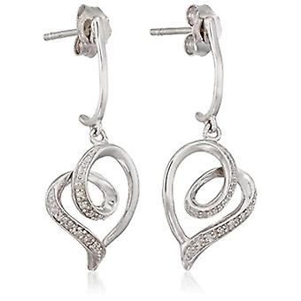 Sterling Silver Diamond Accent Heart Earrings, white, Size No Size