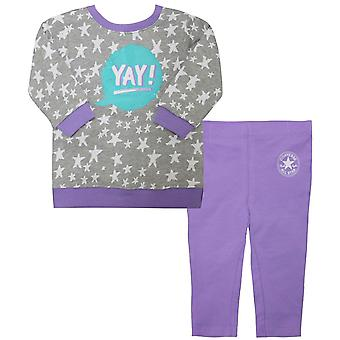 Converse Girls Français Terry Sweatshirt Leggings Toddlers Outfit Lilas 164984 P1R
