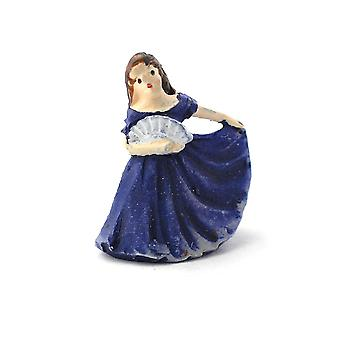 Dolls House Lady In Blue Gown Figurine Miniature Ornament Accessory