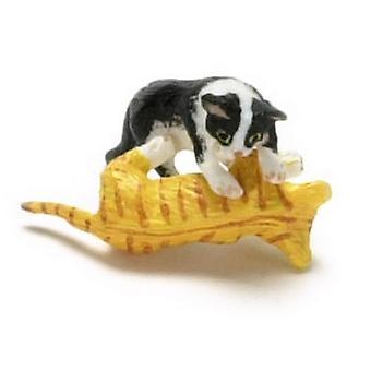בית הבובות שחור && amp; חתלתול לבן ו - כתום חתלתול משחק יחד חיית מחמד 1:12 חתולים