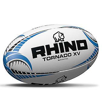 Rhino Tornado XV Rugby League Union Training Ball White/Blue