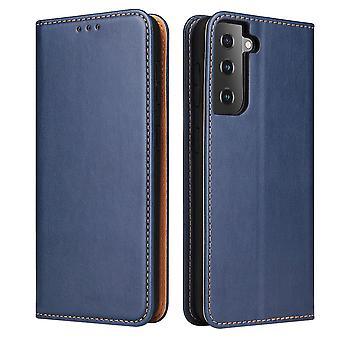 Para Samsung Galaxy S21 caso de cuero Flip Cartera Folio Cubierta Azul