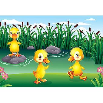 Tapete Wandbild Cartoon Duck Family in the Farm (63269640)