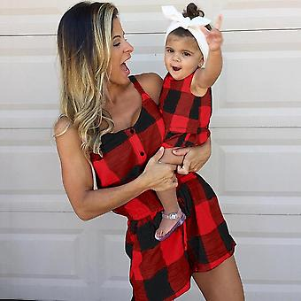 Mother Daughter Family Matching Outfits Clothes, Plaid Parent-child Dress Baby
