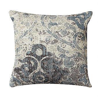 18 X 18 Cotton Hand Woven Dhurri Pillow With Iris Print, White And Blue