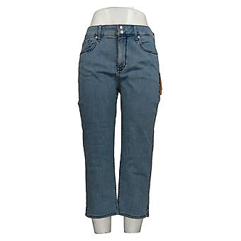 NYDJ Women's Jeans Cool Embrace Skinny Crop with Side Slits Blue A377691