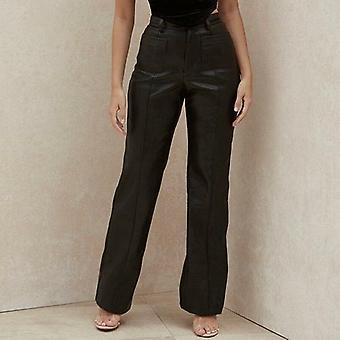 Women Black Fashion Straight Pants Pocket