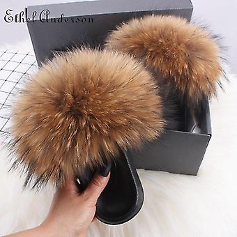 Furry Flip Flops Women