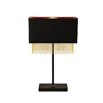 Zoeklicht Fringe 1 Licht Tafellamp - Zwarte Tint Met Gouden Ketting