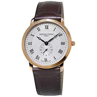 Frederique Constant Men's Slimline | Bruine lederen band | Zilveren Wijzerplaat FC-235M4S4 Horloge