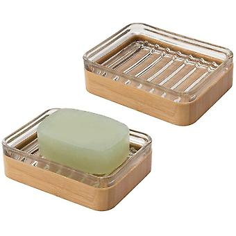 mDesign Set of 2 Bamboo Soap Dish – Practical and Environmentally Friendly Soap Holder Looks